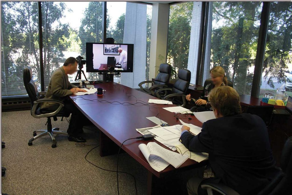 An example of a deposition at Lake Cook Reporting's video conference center in Bannockburn, IL.