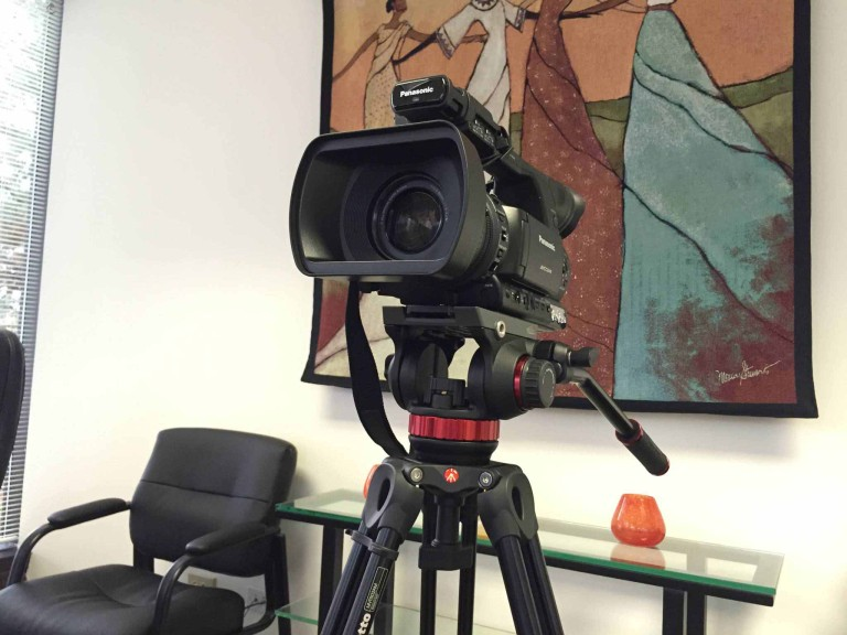 Legal video camera used by our legal videographers during a legal videography deposition at Lake Cook Reporting.