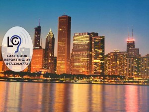 Chicago skyline accompanying testimonials with Lake-Cook Reporting Logo