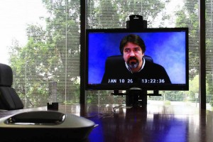 Mobile videoconference on large flat screen TV