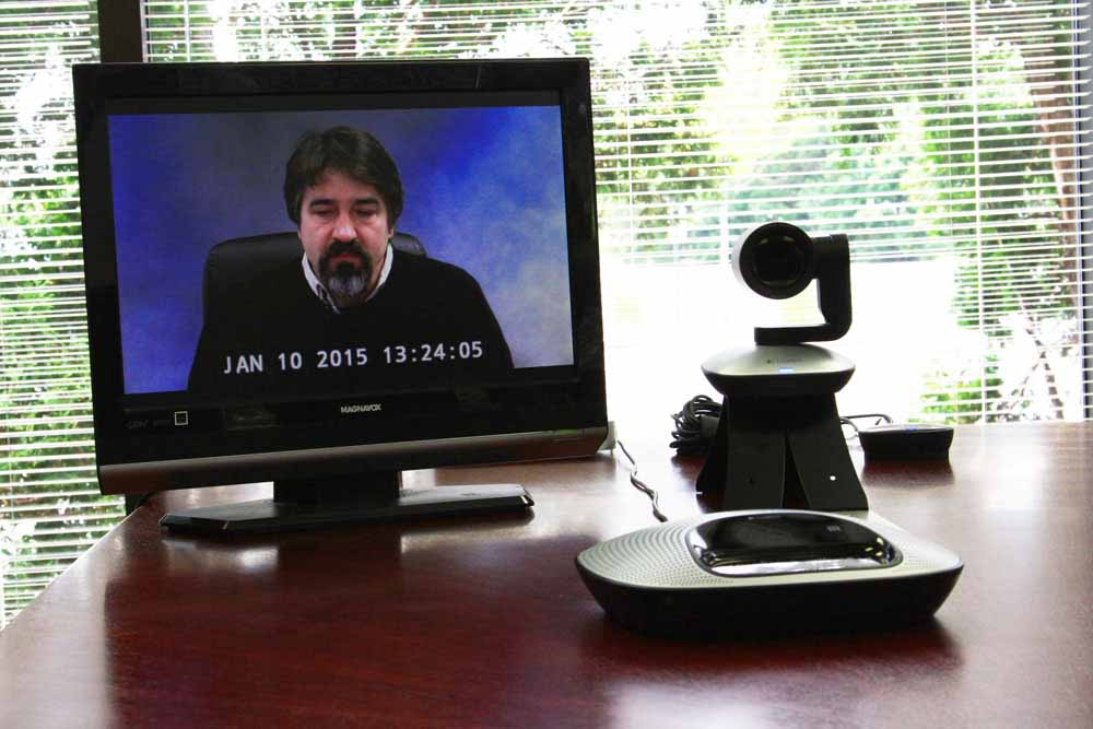 Example of a portable video conference with a small display. Our system works with any display using HDMI, DVI, VGA, and composite inputs.