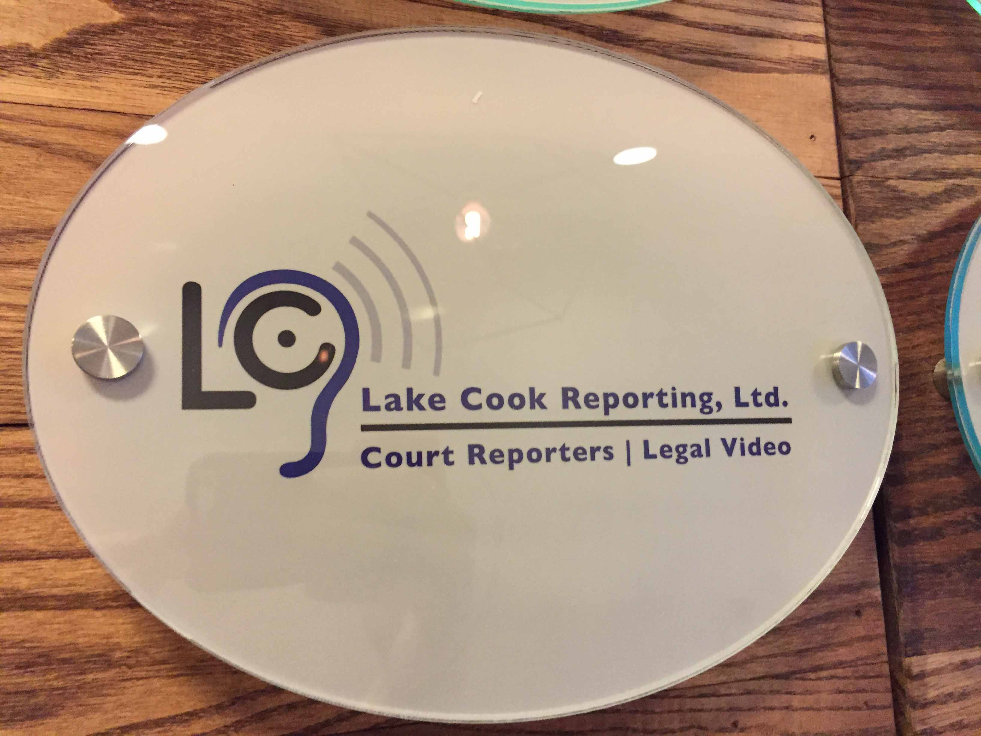 Lake Cook Reporting's Chicago Loop office sign.