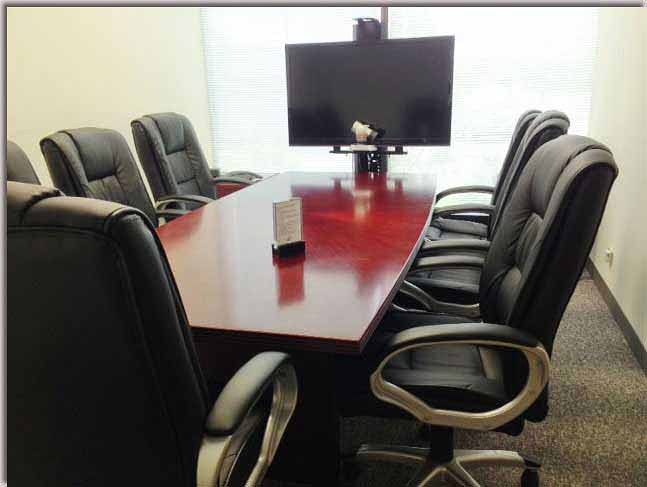 Starburst conference room available as a free deposition suite rental.