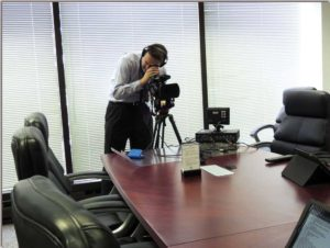 Lake Cook Reporting legal videographer demonstrating legal video deposition services.