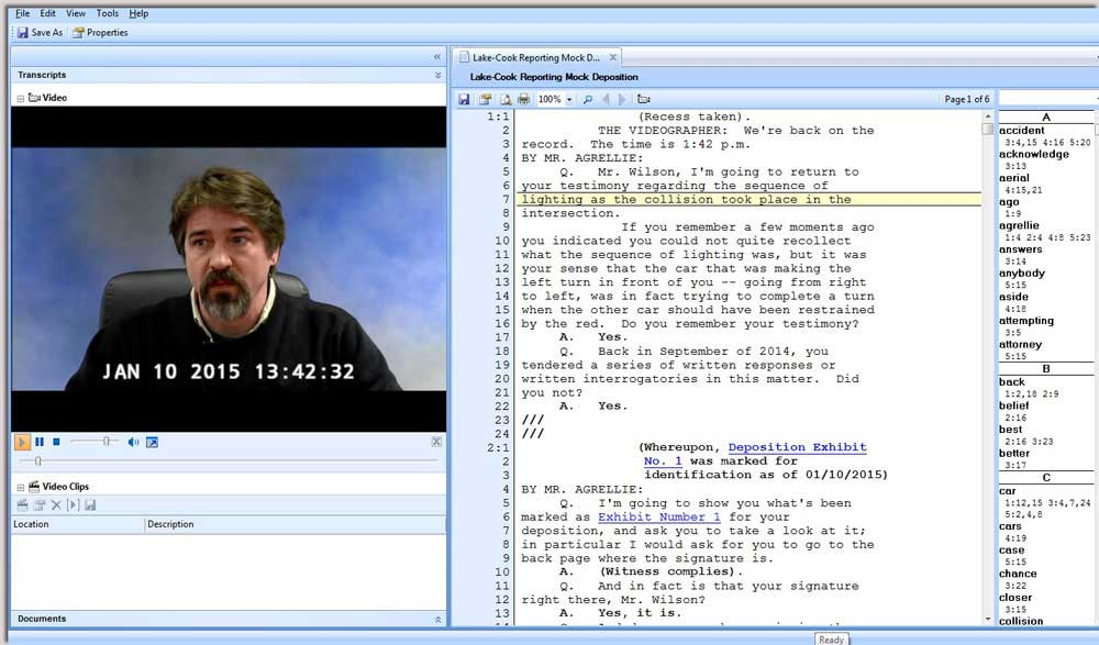 Synchronize transcript to video example used by Lake Cook Reporting in Chicago.