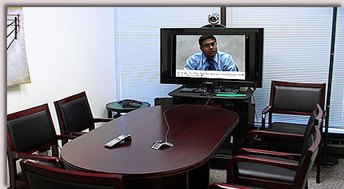Video conference system utilized at Lake Cook Reporting in Bannockburn, IL.