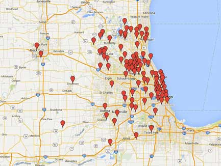 Map showing Lake Cook Reporting's coverage for Chicago area court reporters and legal videographers.