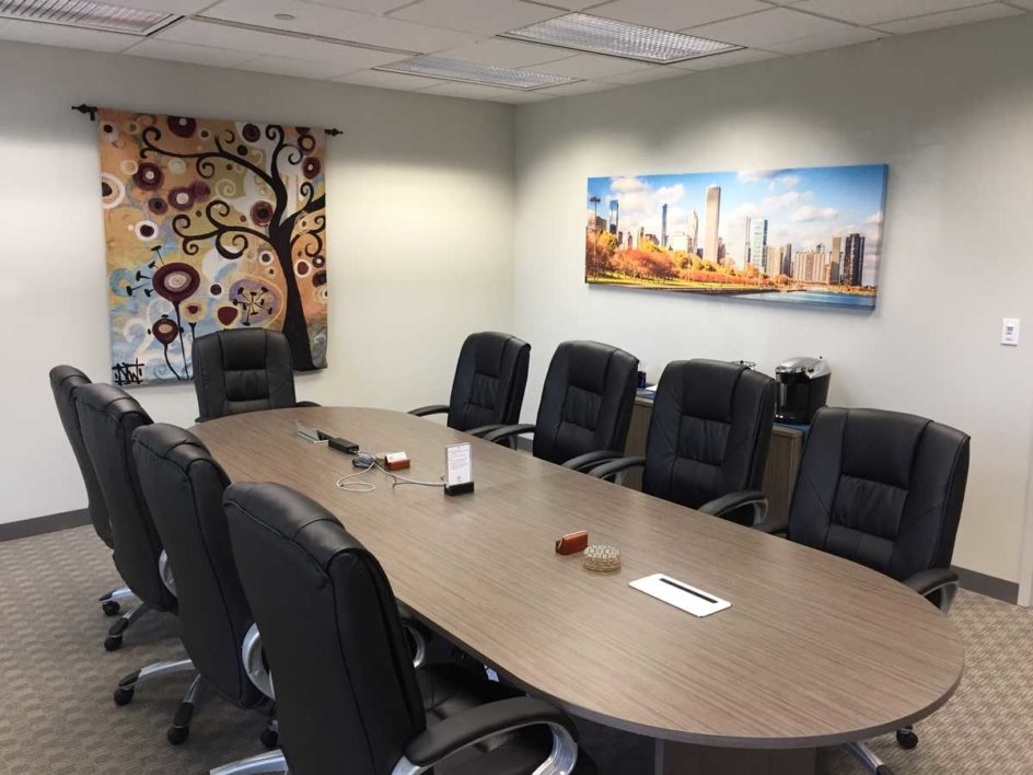 Example conference room with decorations at Lake Cook Reporting.