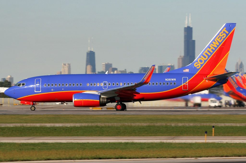 Southwest Airlines flight at Midway Airport. Photo by Brian Futterman.